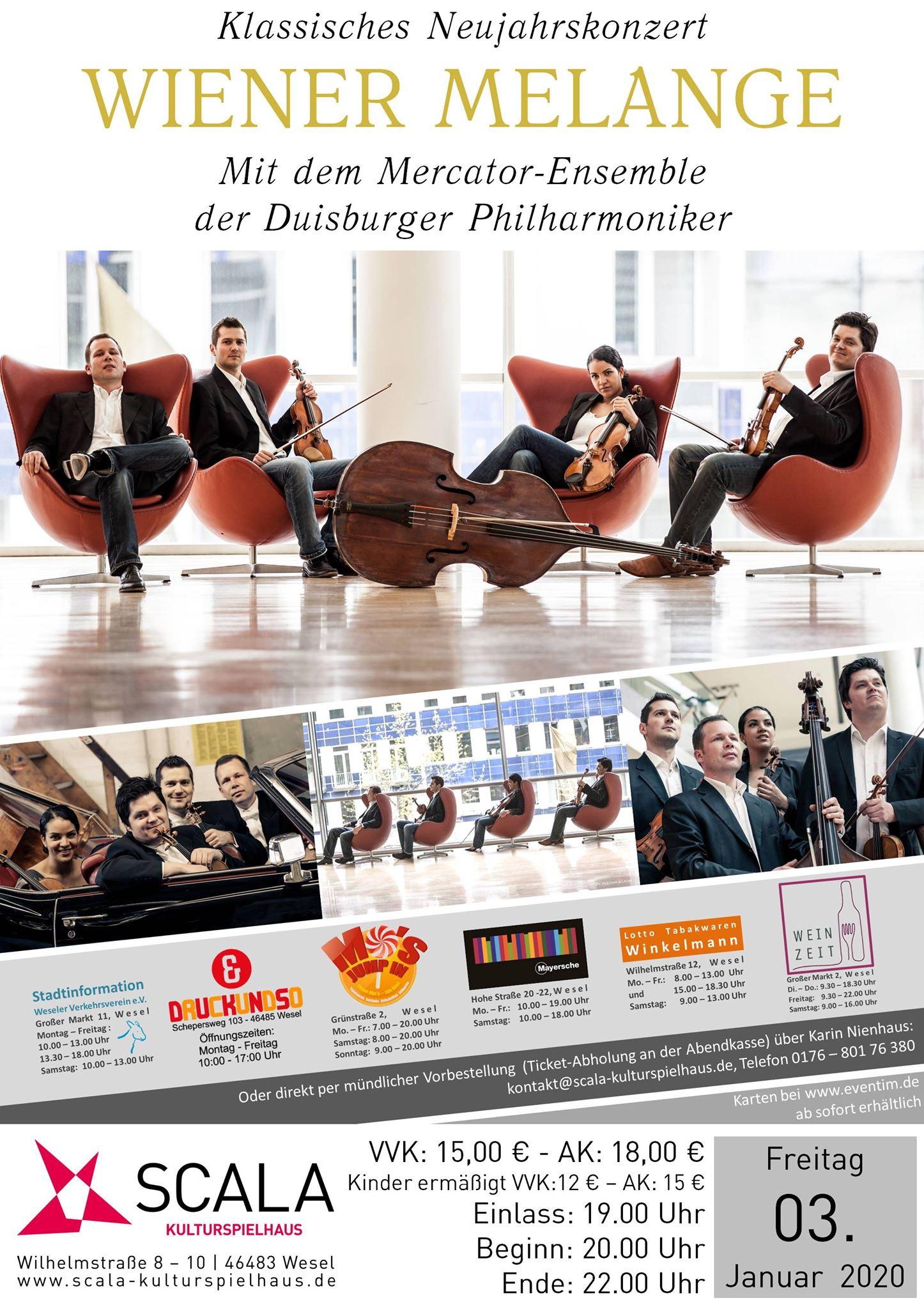 Wesel Neujahrskonzert Streichquartett Mercator-Ensemble Wiener Melange Wien Walzer